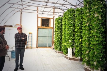 Jesse Fisher (right) and Idea Foundry CEO Mike Matesic at the Dutch Boy Farm aeroponics greenhouse.