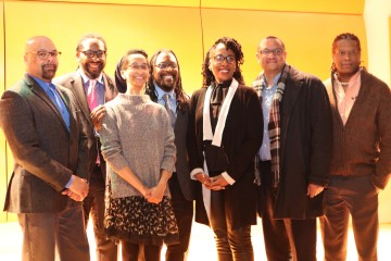 The African American Neighborhoods of Choice working group. Dr. Jamil Bey, Majestic Lane, Mary Taylor, Knowledge Hudson, Daren Ellerbee, Shad Henderson, Juan Garrett. Photo from The Urban Kind Institute.