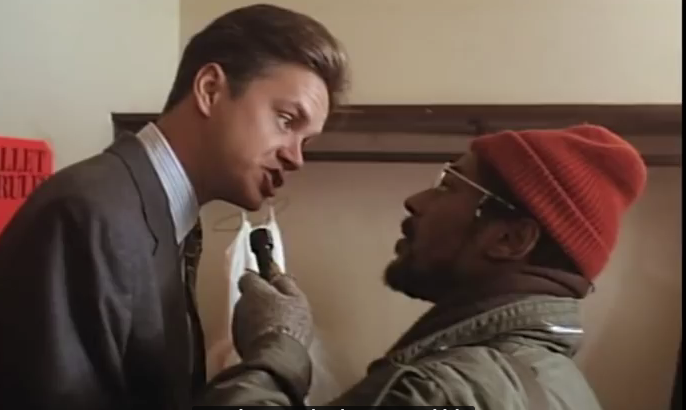 "Tim Robbins and Giancarlo Esposito in ""Bob Roberts"" (1992)."