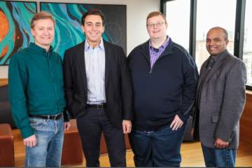Pictured are: Peter Rander, Argo AI COO; Mark Fields, Ford president and CEO; Bryan Salesky, Argo AI CEO; and Raj Nair, Ford executive vice president, Product Development. Salesky and Rander are alumni of Carnegie Mellon National Robotics Engineering Center and former leaders on the self-driving car teams of Google and Uber, respectively. (Photo: Business Wire)