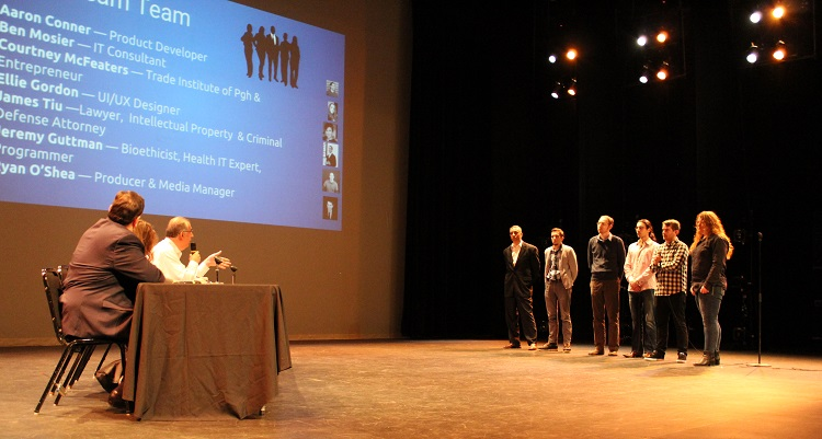 RecoverEQ takes questions from judges. Photo by Amanda Waltz.
