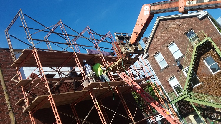 Construction crews work on the Tull Family Theater. Image courtesy of Tull Family Theater.