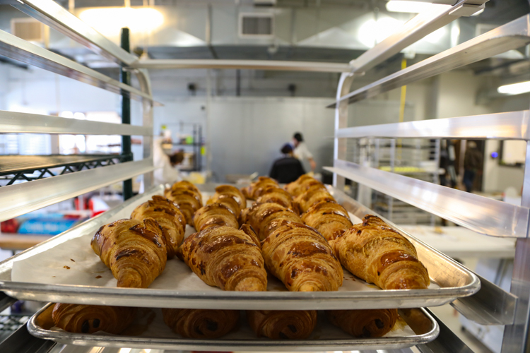 Freshly baked croissants at La Gourmandine.