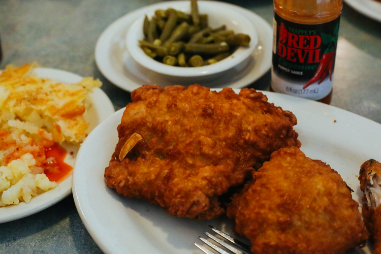 Honey-dipped fried chicken at Ritter's Diner. Photo by Tom O'Connor.