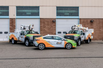 Several of Duquesne Light's Electric vehicles (EVs). Photo courtesy of Duquesne Light.