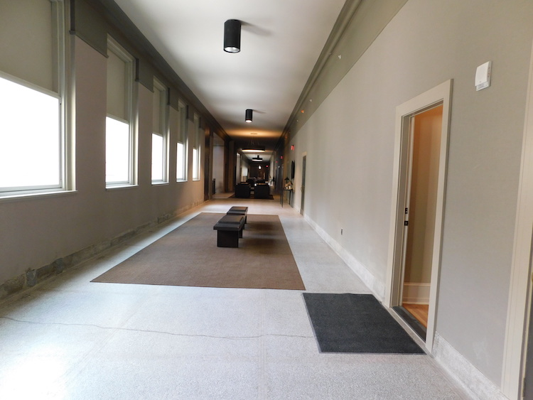 Long hallway at Schenley Apartments