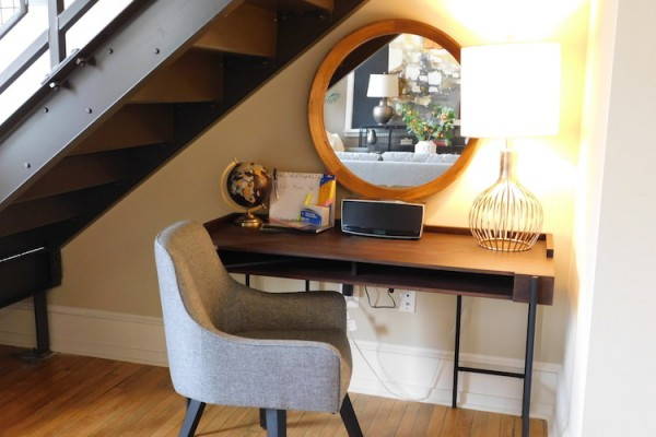 Office nook in 1-bedroom loft at Schenley Apartments.