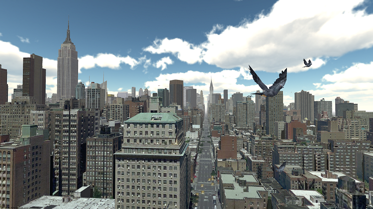 Birdly's virtual version of New York City. Image courtesy of SOMNIAC.