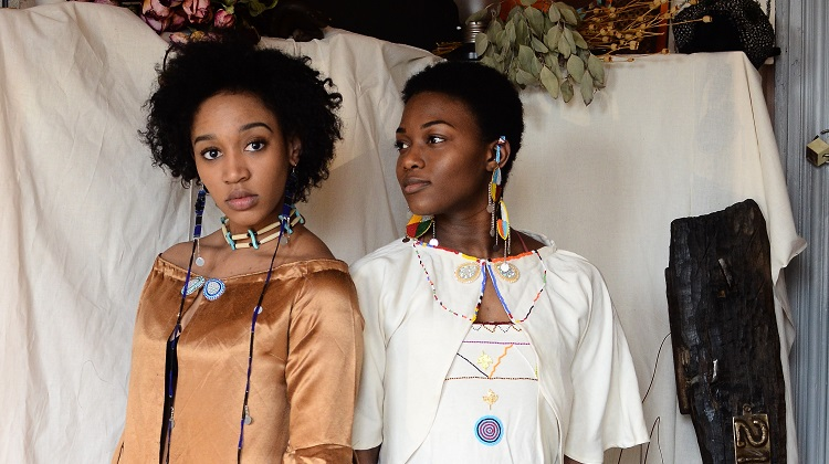 Model Ronnel Kitt and Rayne Jones show off the upcoming Healing collection. Photo by Tereneh Mosley.