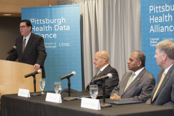 Pittsburgh leaders announce the Pittsburgh Health Data Alliance in March 2015. Photo courtesy PDHA.