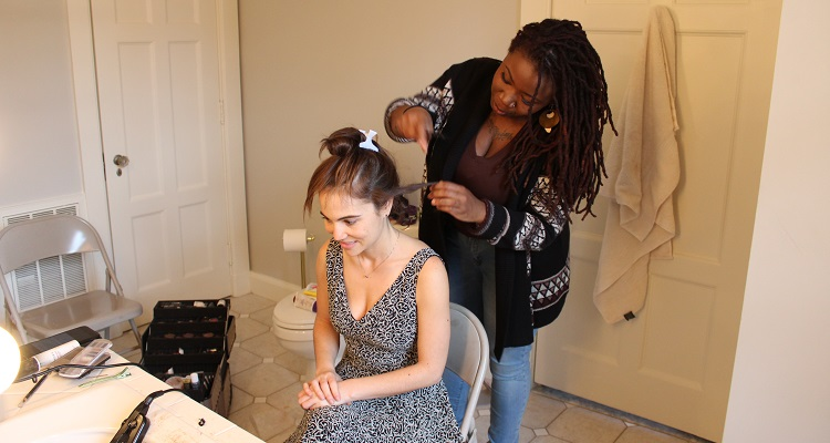 Actress/producer Christina Wren has her hair styled by Taquaya Williams. Photo by Amanda Waltz.