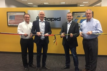 From left to right: Rapid staff members Dan Boll, Bengt Rimark, Ulf Karlsson, and Jim Hoffman open the new Pittsburgh facility.  Image courtesy of Rapid Granulator.