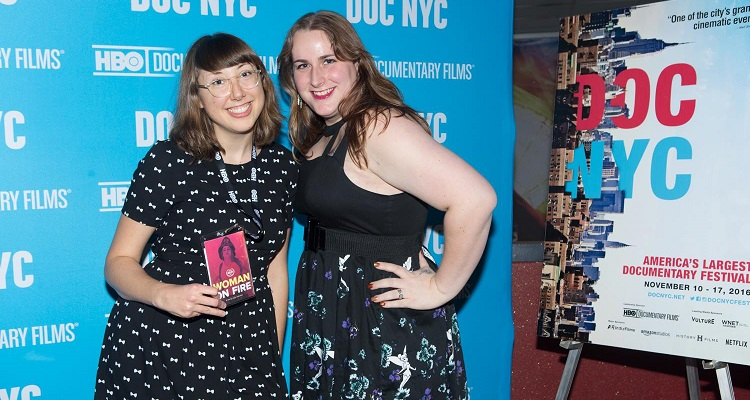 Julie Sokolow (left) at the DOC NYC premiere of her film Woman on Fire. Image courtesy of Julie Sokolow.