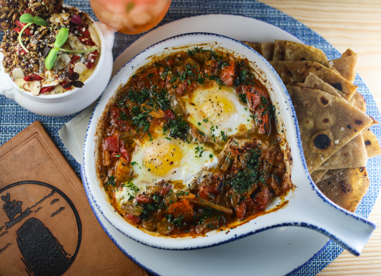 The Tunisian-inspired Shakshuka and quinoa oat granola from the brunch menu at or, The Whale. Photo by Tom O'Connor.