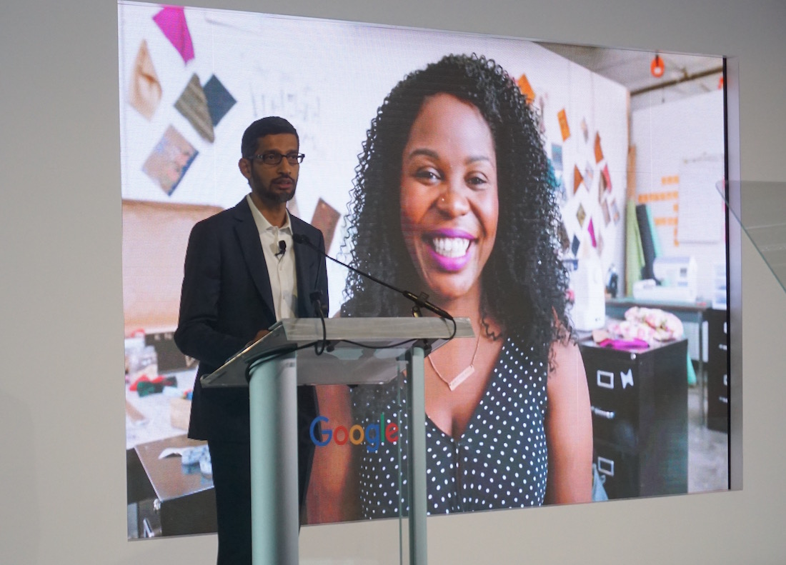 Google CEO at announcement of Grow with Google at Bakery Square. Maker Nisha Blackwell on screen