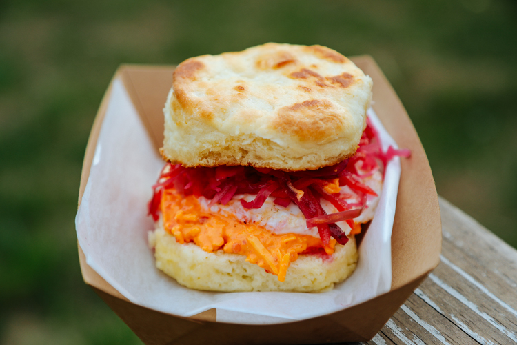 Pimento cheese and chow-chow biscuit. Photo by Tom O'Connor.